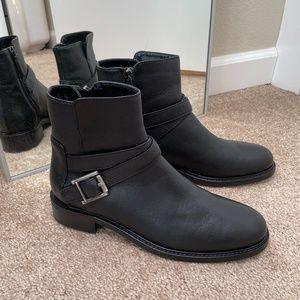 Aquatalia Black Leather Moto Buckle Ankle Boots